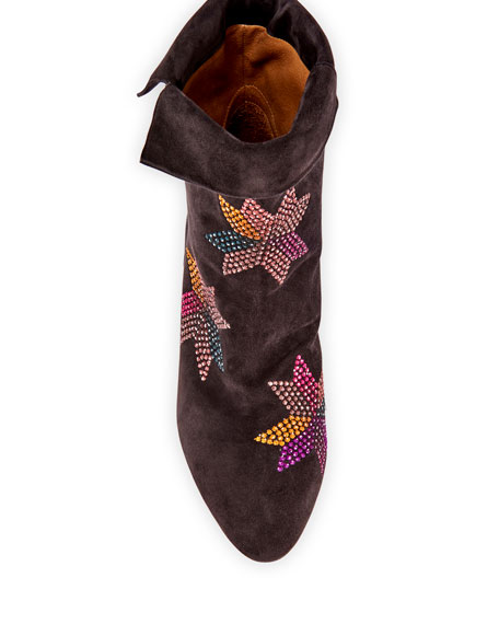 Image 3 of 4: Isabel Marant Dyna Embroidered Suede Ankle Boots