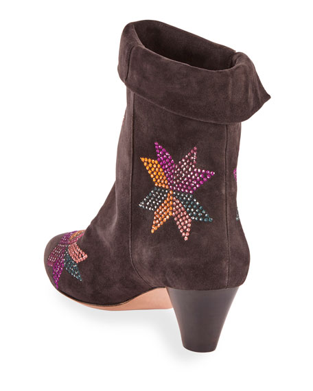 Image 4 of 4: Isabel Marant Dyna Embroidered Suede Ankle Boots