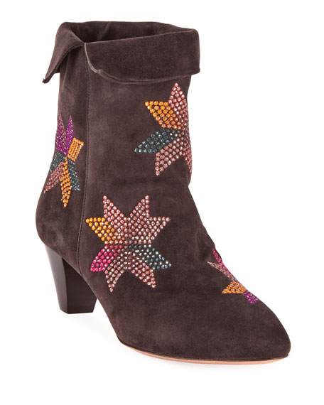 Image 1 of 4: Isabel Marant Dyna Embroidered Suede Ankle Boots