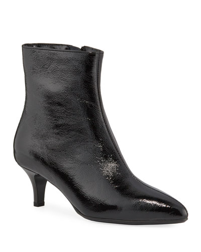 Davis Waterproof Patent Kitten-Heel Booties