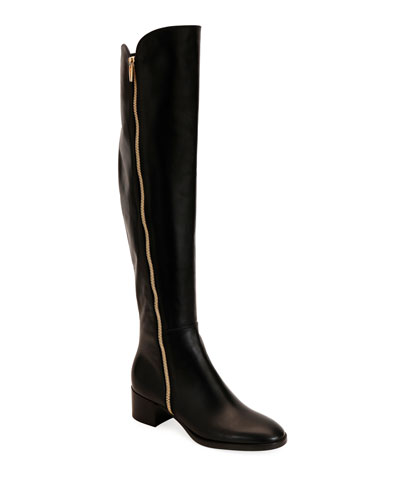 To-The-Knee Zip Leather Booties