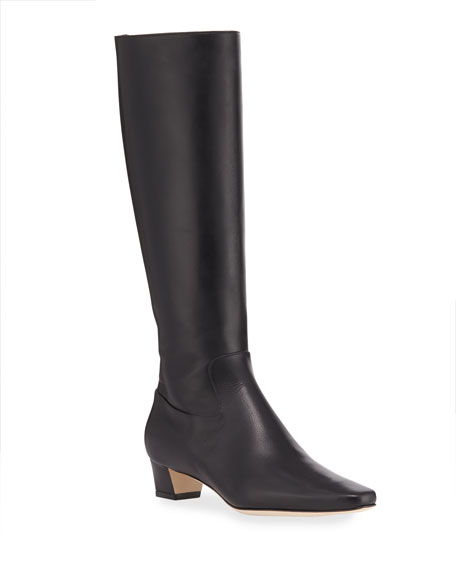 Manolo Blahnik Theseus Leather Knee Boots