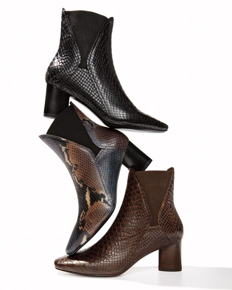 Donald J Pliner Austen Python-Print Leather Chelsea Booties