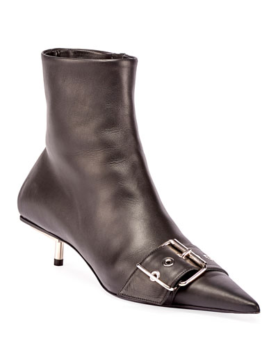 Belted Low-Heel Leather Booties