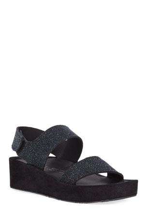 Pedro Garcia Lacey Textured Platform Sandals