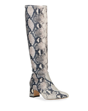 fe6c9bc6f Stuart Weitzman Milla Snake-Print Leather Knee Boots