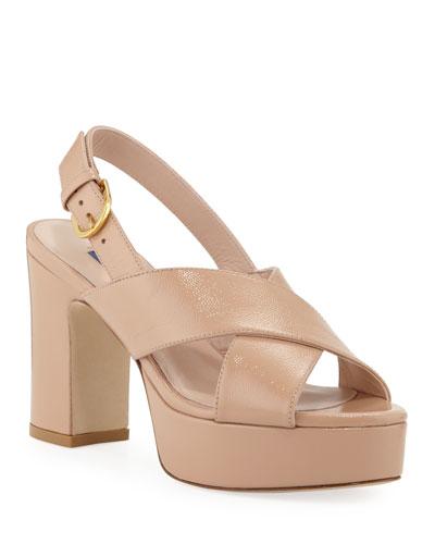 Jerry Leather Cross-Strap Platform Sandals