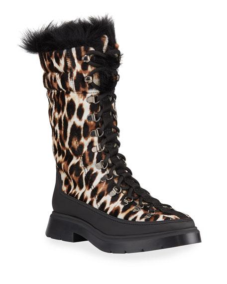Stuart Weitzman Jessie Leopard Fur Booties
