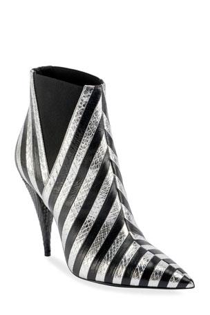 Saint Laurent Kiki Contrast Striped Leather Booties