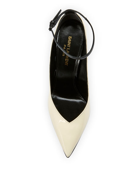 Saint Laurent Zoe Shiny Ankle-Strap Pumps