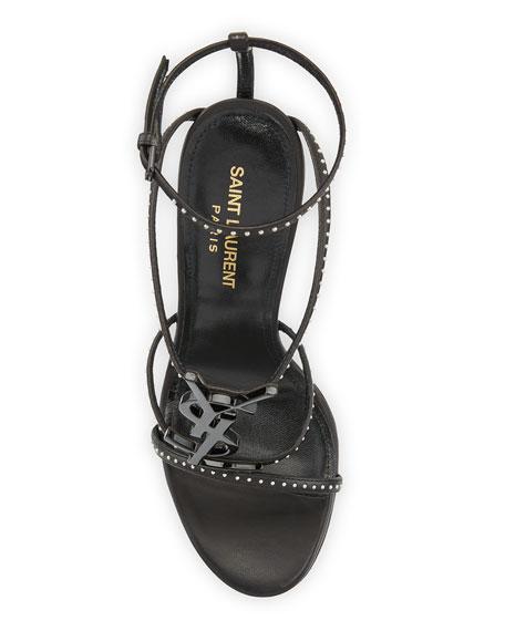 Saint Laurent Cassandre Studded Logo Sandals