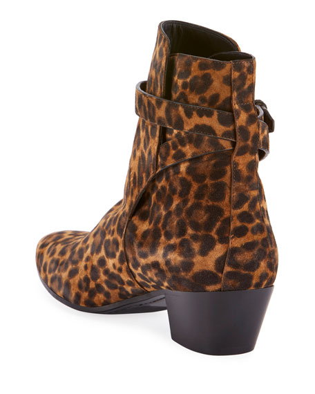 Saint Laurent West Leopard-Print Booties