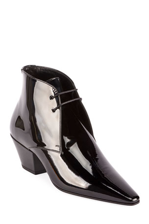 Saint Laurent Belle Shiny Lace-Up Dress Shoes