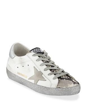 0d68f47cda3f Golden Goose Superstar Snake-Print and Glitter Sneakers