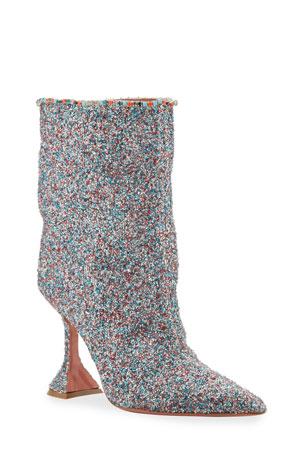 Amina Muaddi Mia Fluffy Glitter Booties