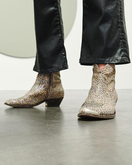 Golden Goose Young Leopard Sparkle Booties