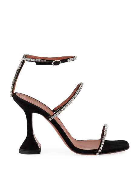 Image 2 of 3: Amina Muaddi Gilda Suede and Crystal Sandals