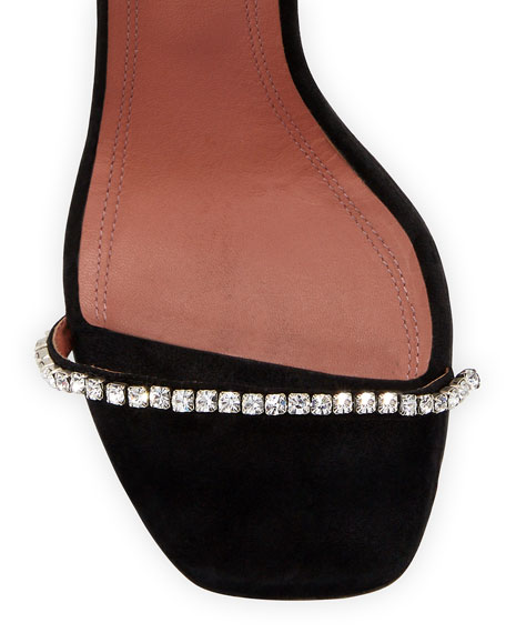 Image 3 of 3: Amina Muaddi Gilda Suede and Crystal Sandals