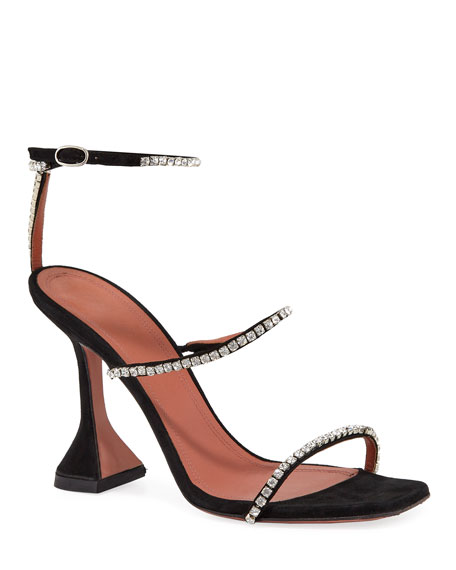 Image 1 of 3: Amina Muaddi Gilda Suede and Crystal Sandals