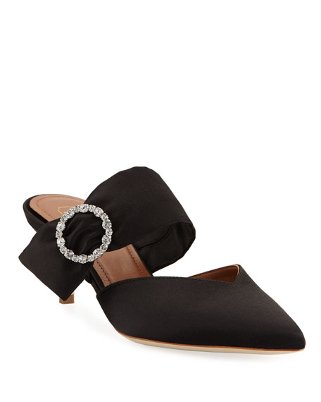 Malone Souliers Maite Crystal-Buckle Satin Point-Toe Mules