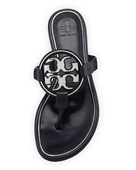 Tory Burch Metal Miller Logo Leather Sandals