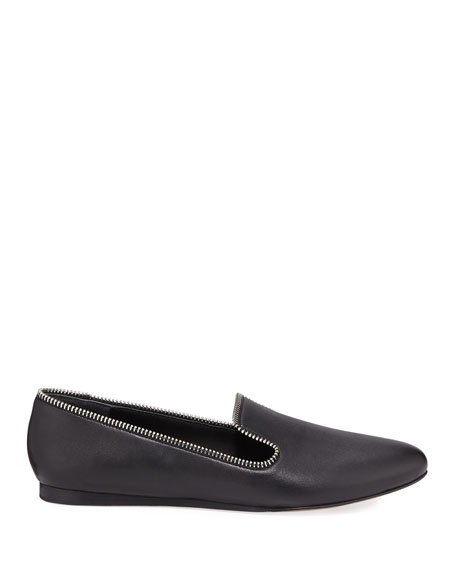 Veronica Beard Griffin Flat Leather Loafers with Zipper Detail