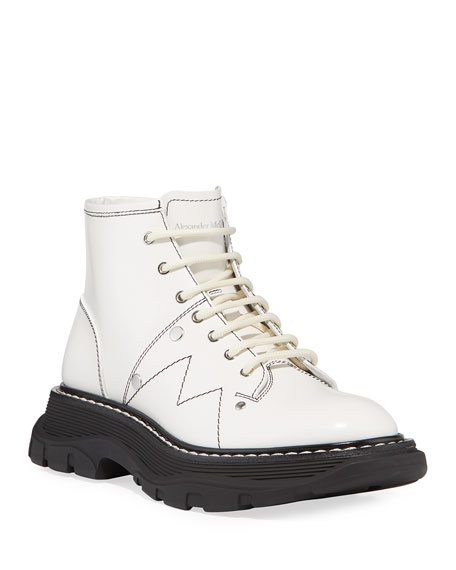 Image 4 of 4: Alexander McQueen Patent Leather Lace-Up Boots