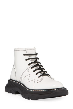 Alexander McQueen Patent Leather Lace-Up Boots
