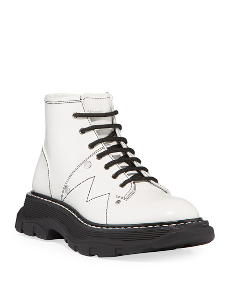 Image 1 of 4: Alexander McQueen Patent Leather Lace-Up Boots