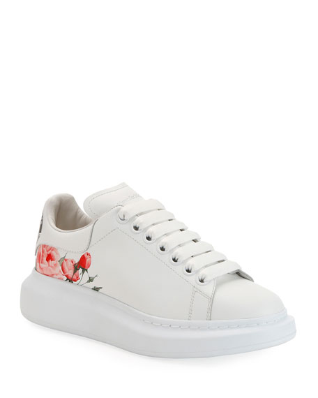 Alexander McQueen Larry Rose-Printed Leather Platform Sneakers