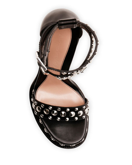 Alexander McQueen Studded Leather Ankle Strap Sandals