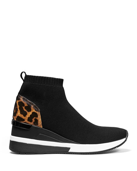 MICHAEL Michael Kors Skyler Knit Booties with Cheetah Trim