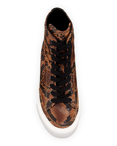Rag & Bone Army Snake-Print High-Top Sneakers