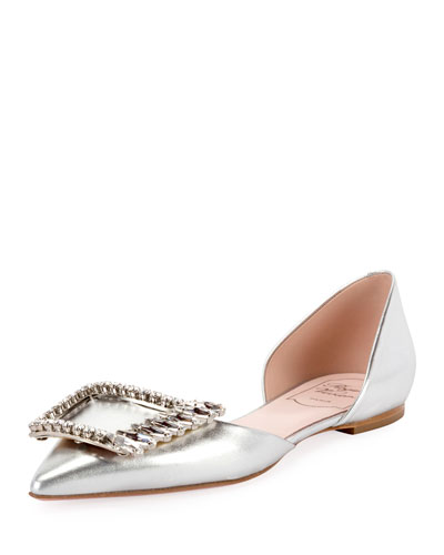 Wings Buckle Metallic Ballet Flats  Silver