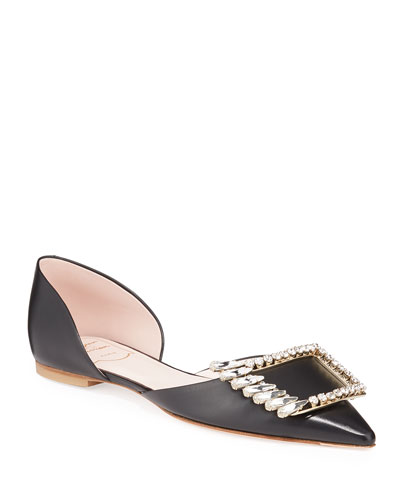 Wings Buckle Metallic Ballet Flats  Black