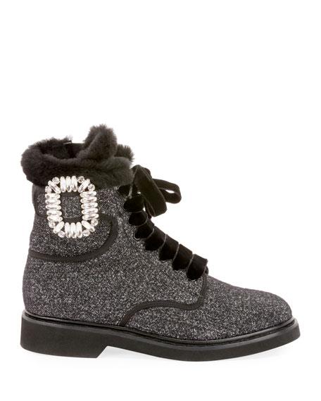 Roger Vivier Viv' Rangers Wool & Shearling Fur Crystal Buckle Booties