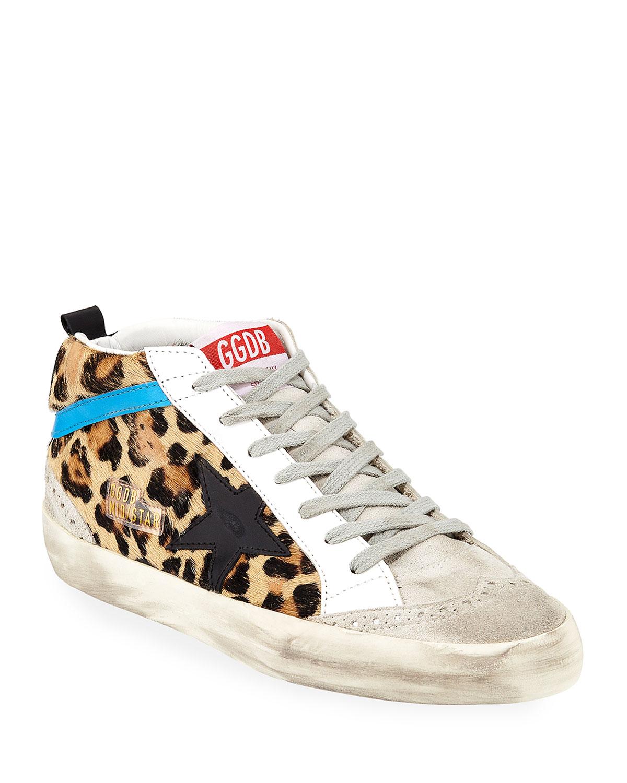 Golden Goose Mid Star Leopard Sneakers