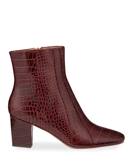 Veronica Beard Felix Croc-Embossed Leather Booties