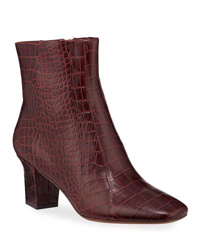 Felix Croc-Embossed Leather Booties