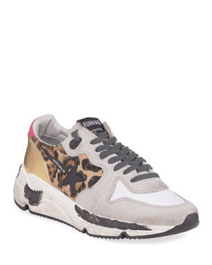 3c11336be4fc2 Golden Goose Leopard Mixed Running Sneakers