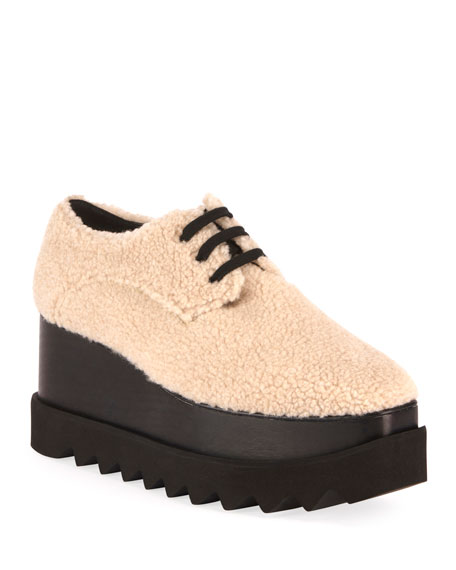 Stella McCartney Elyse Lace-Up Faux-Shearling Sneakers