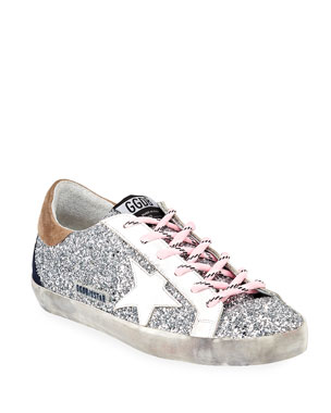 7dae46daf7c5 Golden Goose Superstar Glitter Lace-Up Sneakers