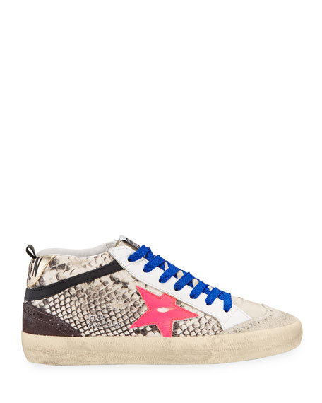 Image 2 of 4: Golden Goose Mid Star Python-Print Wing-Tip Sneakers