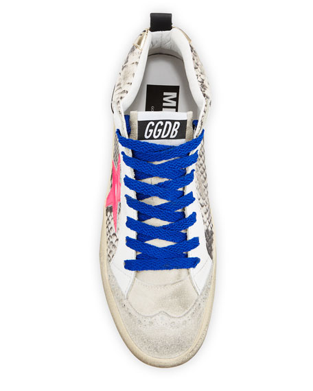 Image 3 of 4: Golden Goose Mid Star Python-Print Wing-Tip Sneakers