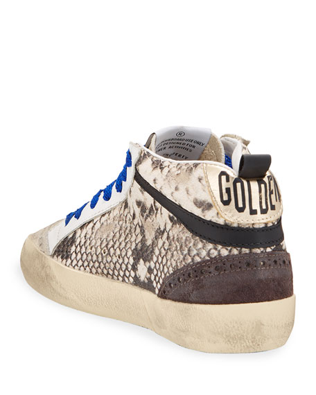 Image 4 of 4: Golden Goose Mid Star Python-Print Wing-Tip Sneakers