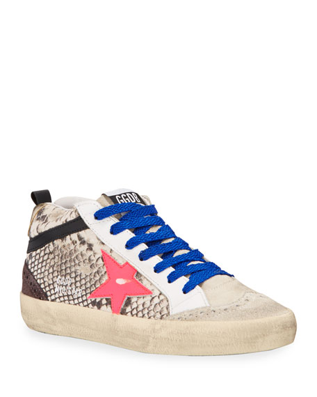 Image 1 of 4: Golden Goose Mid Star Python-Print Wing-Tip Sneakers