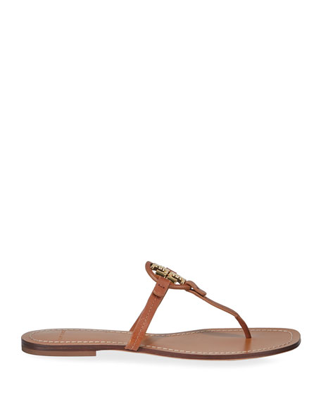 Tory Burch Miller Logo Leather Thong Sandals