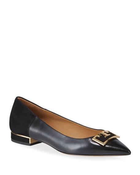Tory Burch Gigi Leather/Suede Pointy Ballerina Flats