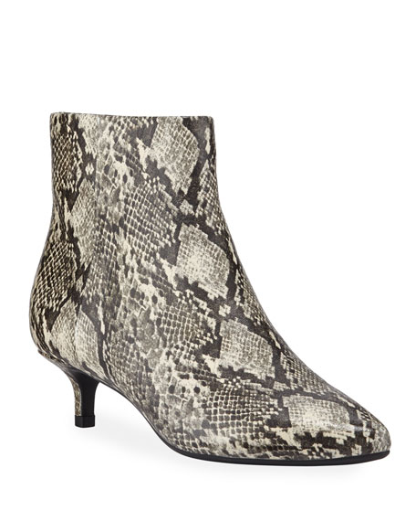Taryn Rose Nelli Snake-Printed Leather Ankle Booties