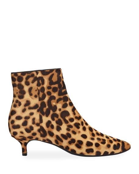 Taryn Rose Nelli Leopard-Print Kitten Heel Ankle Booties